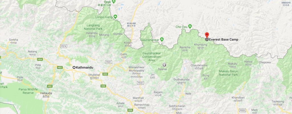 Everest Base Camp map